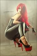 Verity Vian Model Vamp rothaarig Kreuz Femme Fatale