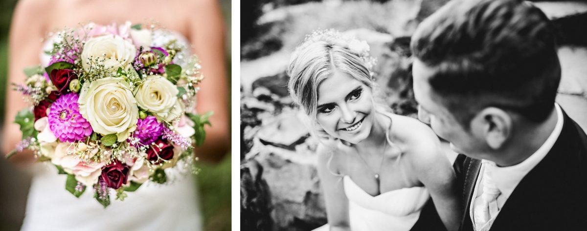 Brautstrauß weiß lila rot grün Liebe Shooting schwarz weiß Ehepaar