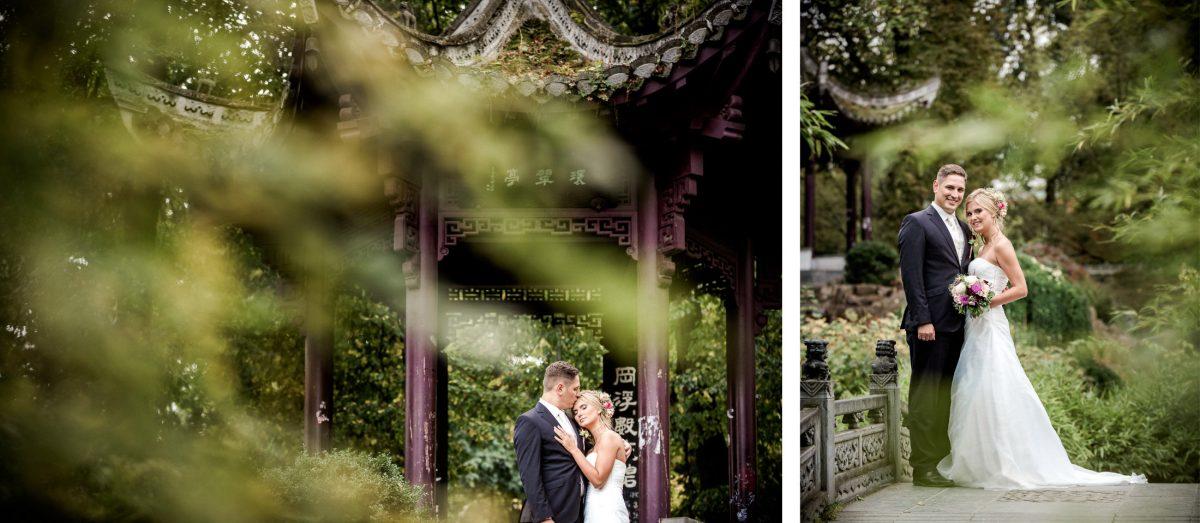 Chinesischer Garten Tempel Umarmung Mann Frau Liebe Shooting Bäume