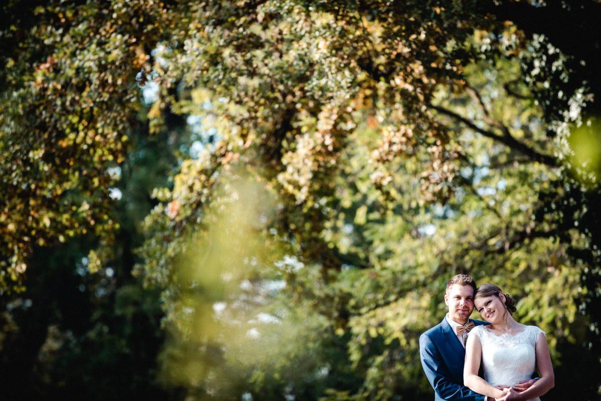 Liebe Natur Blätter Hochzeit Umarmung Zärtlichkeit Ehepaar Shooting