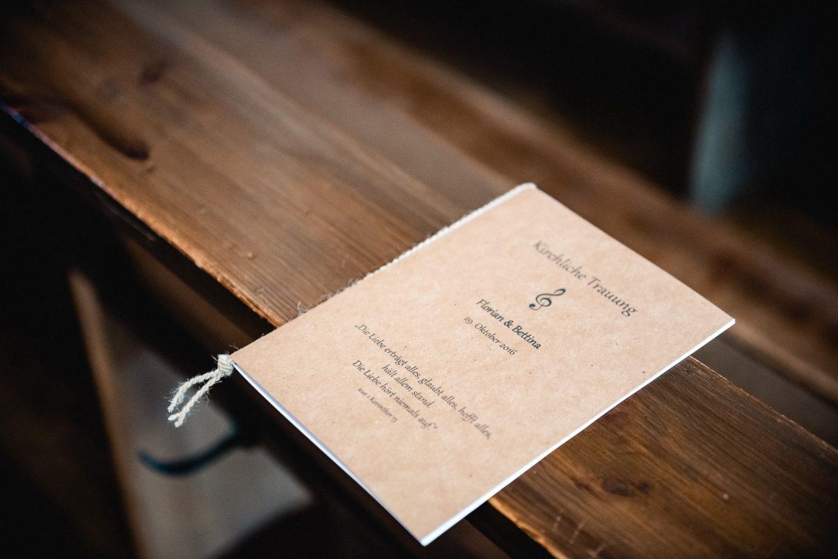 Programmheft Bank Holz Hochzeit Trauun Musik Gesang Ehe