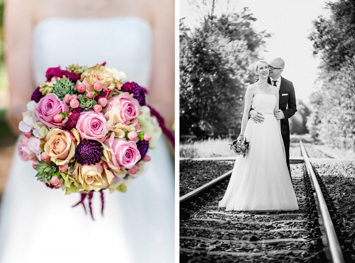 Brautstrauß Blumen Lila Pink Rosa Creme Weiß Kuss Paarshooting