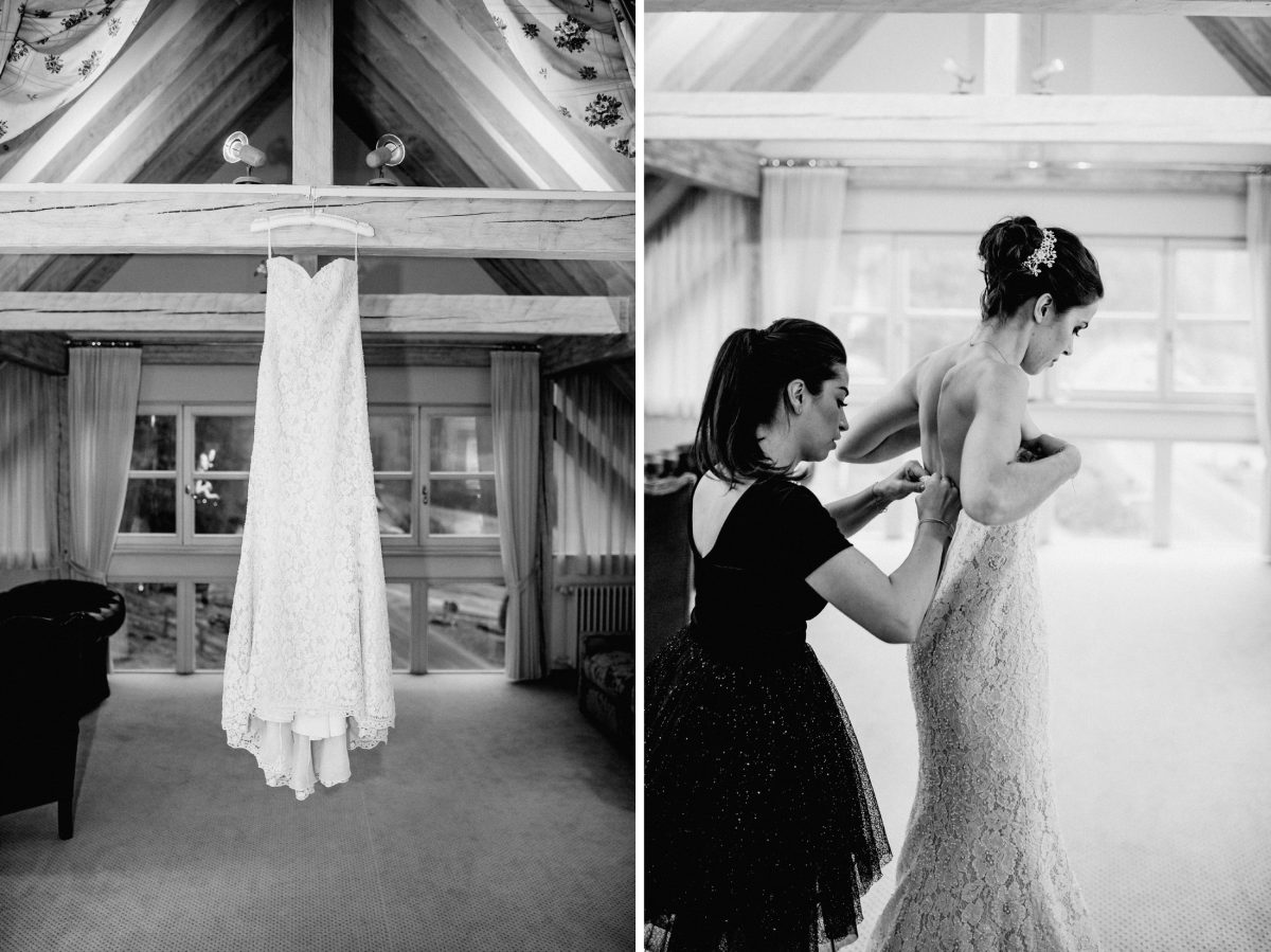 Hochzeitskleid weiß trägerlos Spitze Trauzeugin Kleider schwarz weiß chic