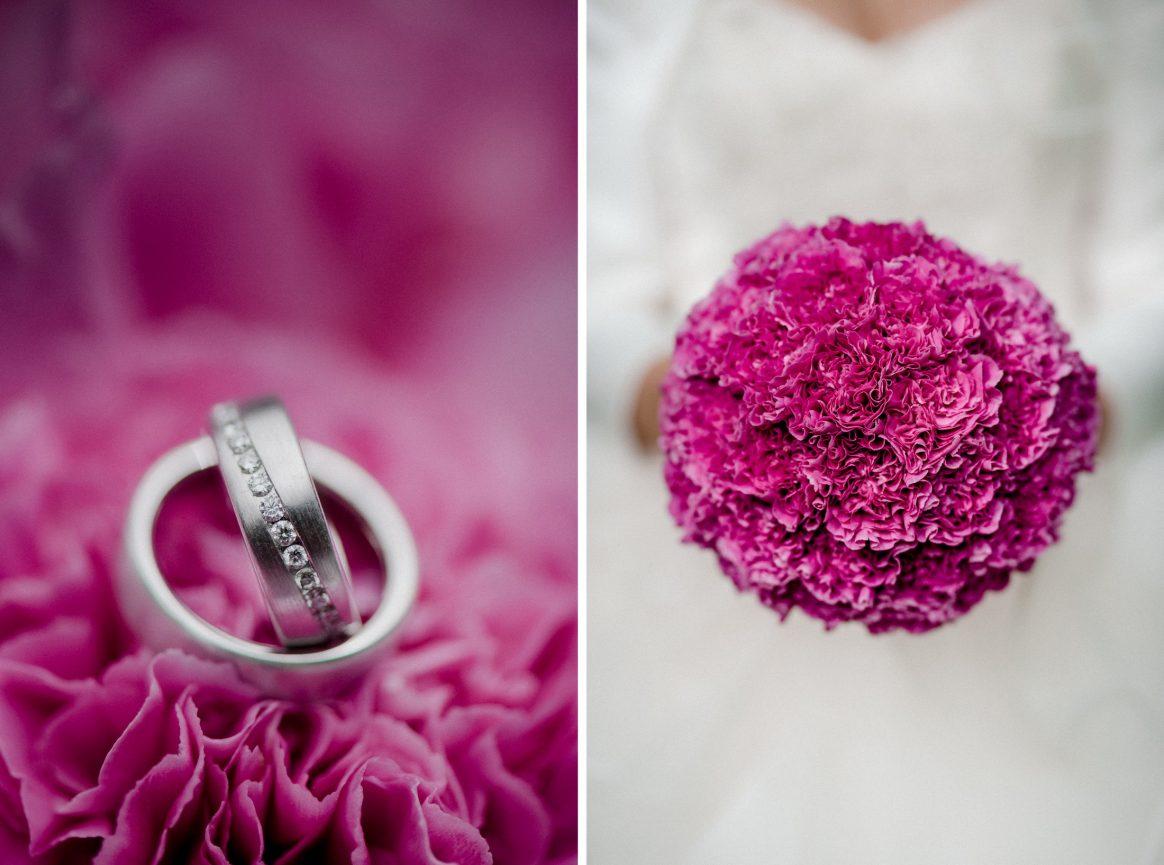 Ringe silber Steinchen Blumen pink Brautstrauß Brau Kleid weiß Eheringe
