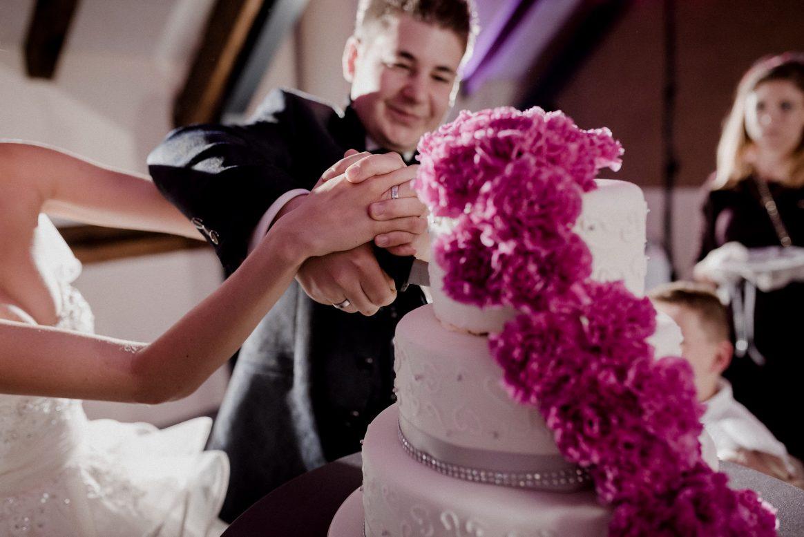 Torte Anschnitt Blumendekoration Pink Ehepaar Tradition Lecker Fondant