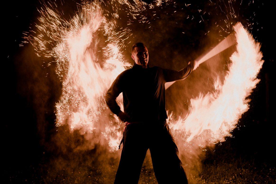 Feuershow Mann Dunkel Feuer Attraktion Show Ereignis
