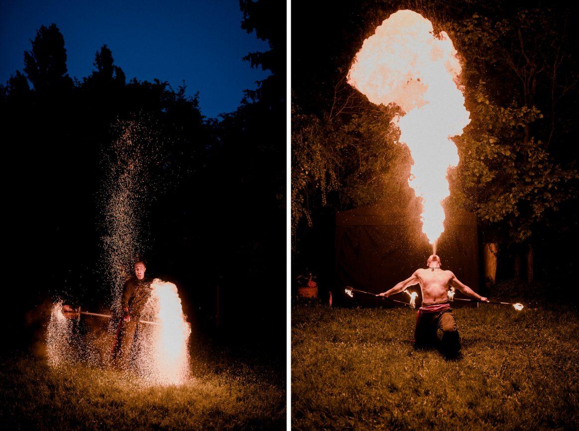 Feuer Attraktion Feuerspucker Abend Dunkel Show Hochzeit Flammen