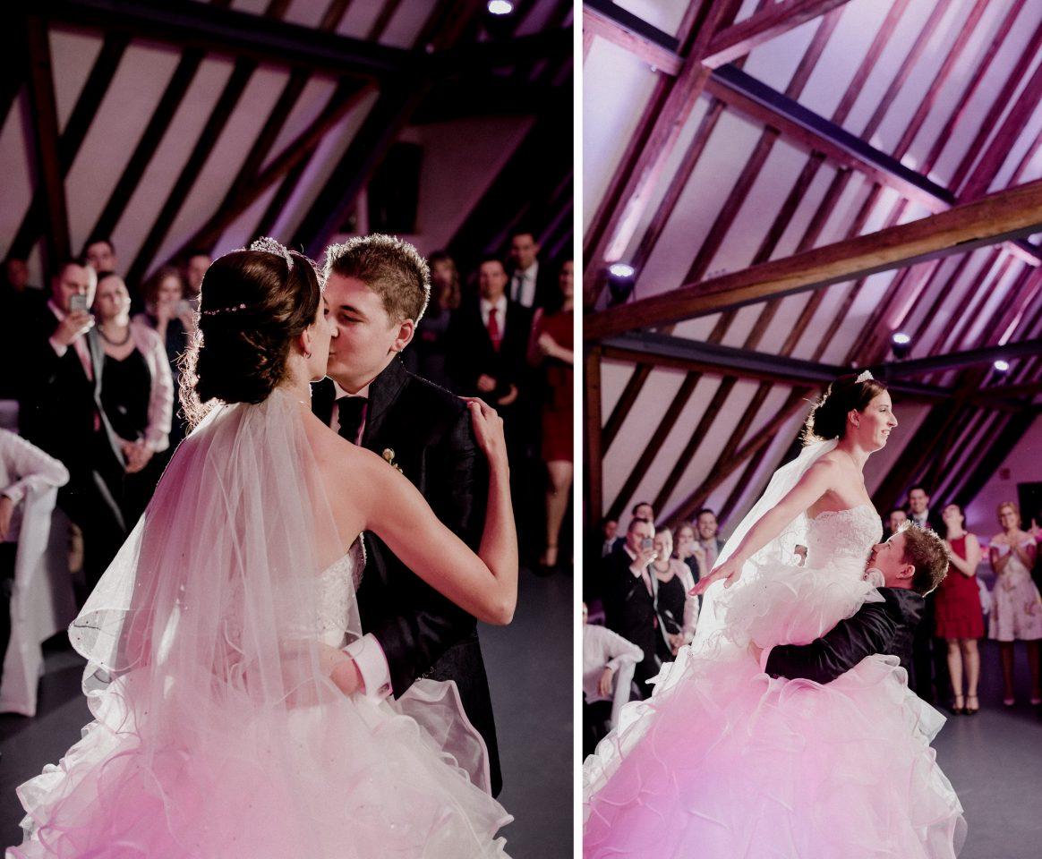 Paartanz Hochzeit Feier Kuss Hebefigur Brautpaar Musik Spaß filmen