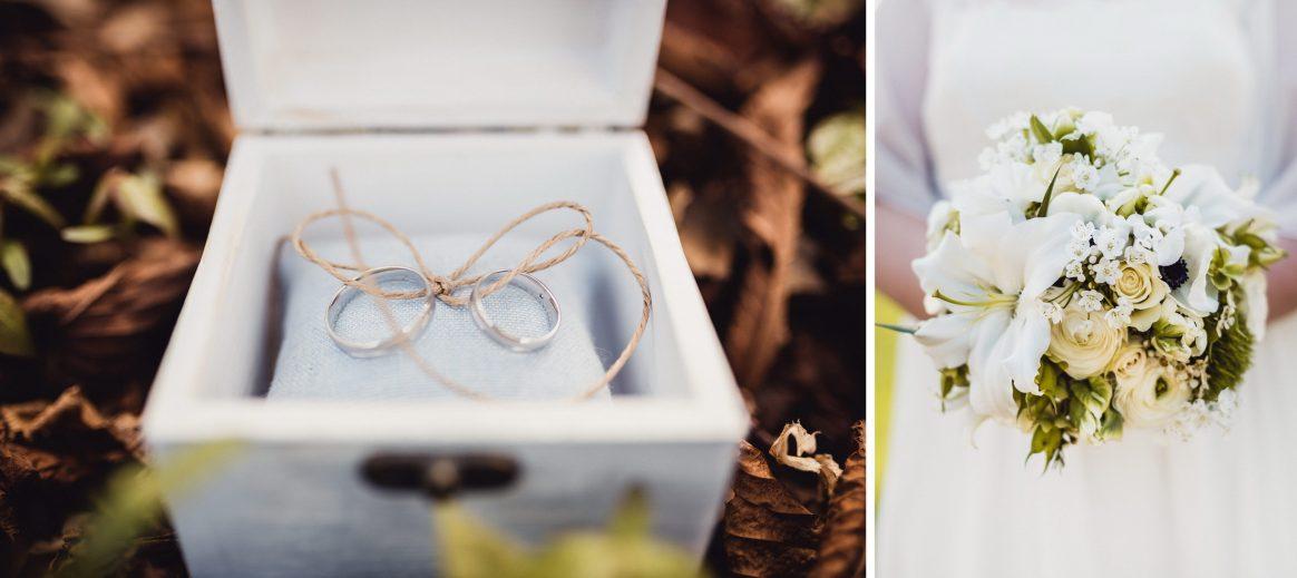 Ringe Schatulle Eheversprechen Unendlichkeit Symbole Brautstrauß Blumen