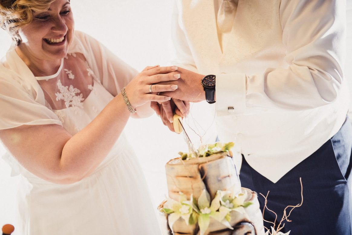 Torte weiß grün braun lecker Sahne Anschnitt Brau Bräutigam Freude Kuchen