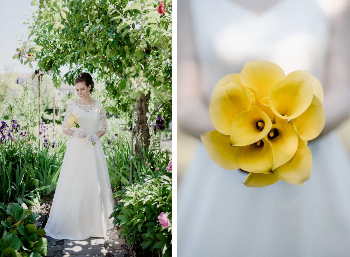 Braut Shooting Natur Blumen Lila Gelb Rosa Sommer Brautkleid Baum