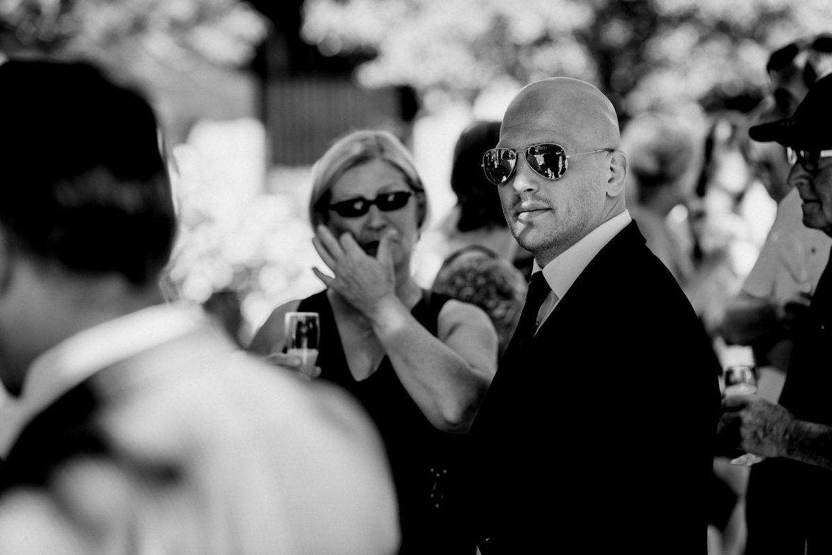 Mann Sonnenbrille Anzug Sommer cool Frau Blond