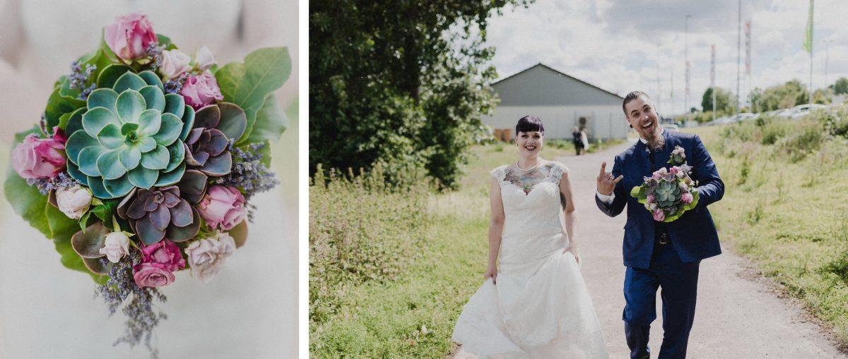 Blumen Hauswurtz grün rosa pink weiß laufen Brautpaar rockig Spaß