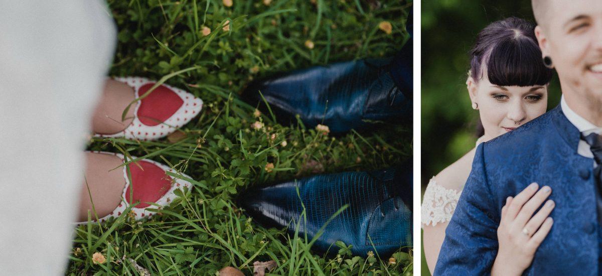 Schuhe Herzen Punkte rot schwarz Leder blau Mann&Frau Liebe Füße