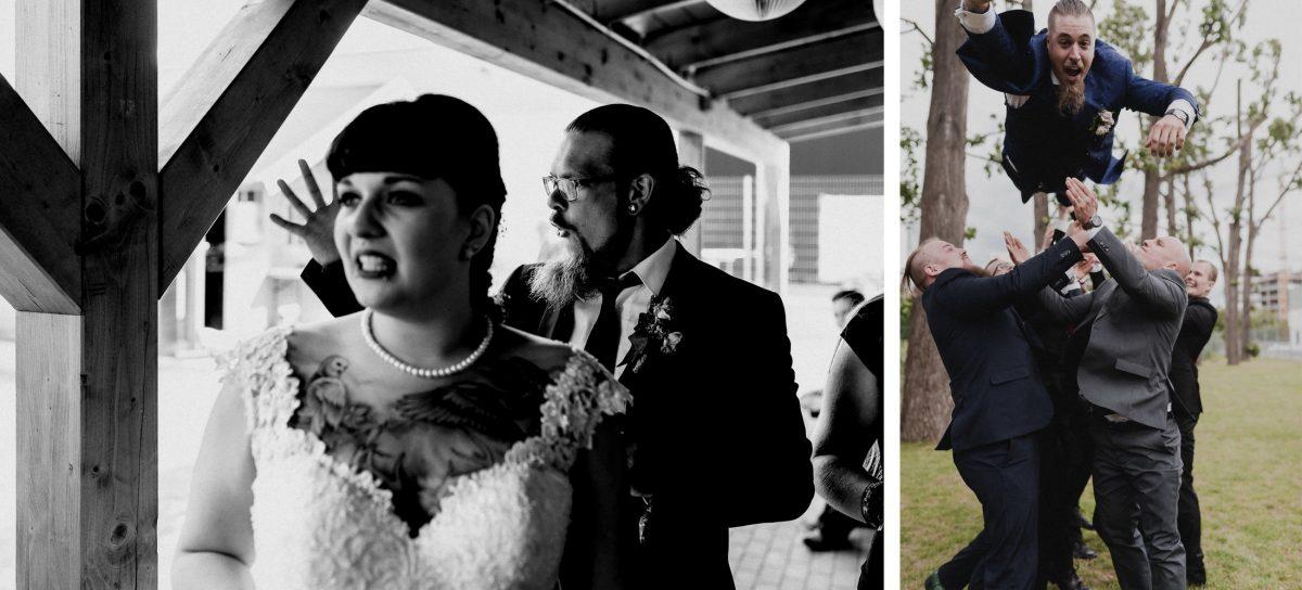 Bräutigam Männer Spaß Wurf Braut Gäste schwarz weiß Kleid