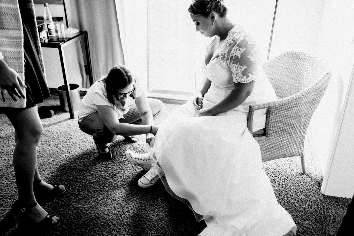 Brautkleid Chucks Dammühle Marburg getting ready