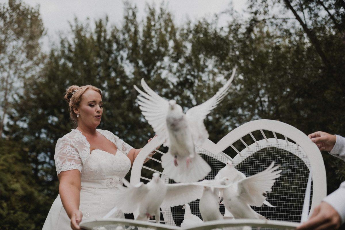 Braut weiße Tauben Tauben fliegen lassen Käfig offen