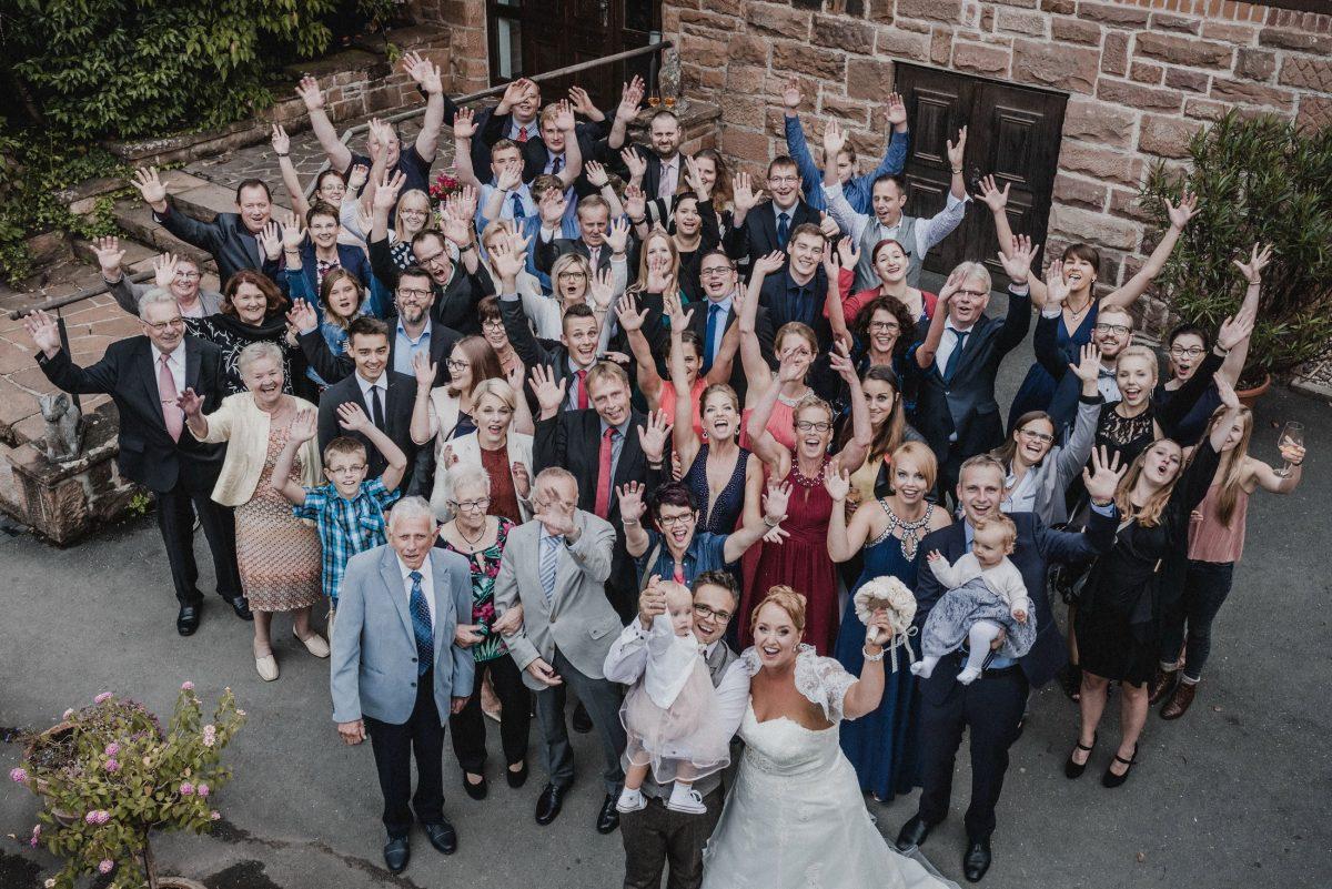 Hochzeitsfoto Gruppenbild Dammühle Marburg