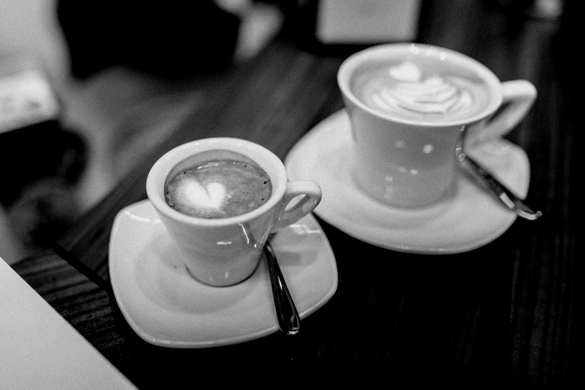 Espresso Kaffee Schaum Herz Tassen