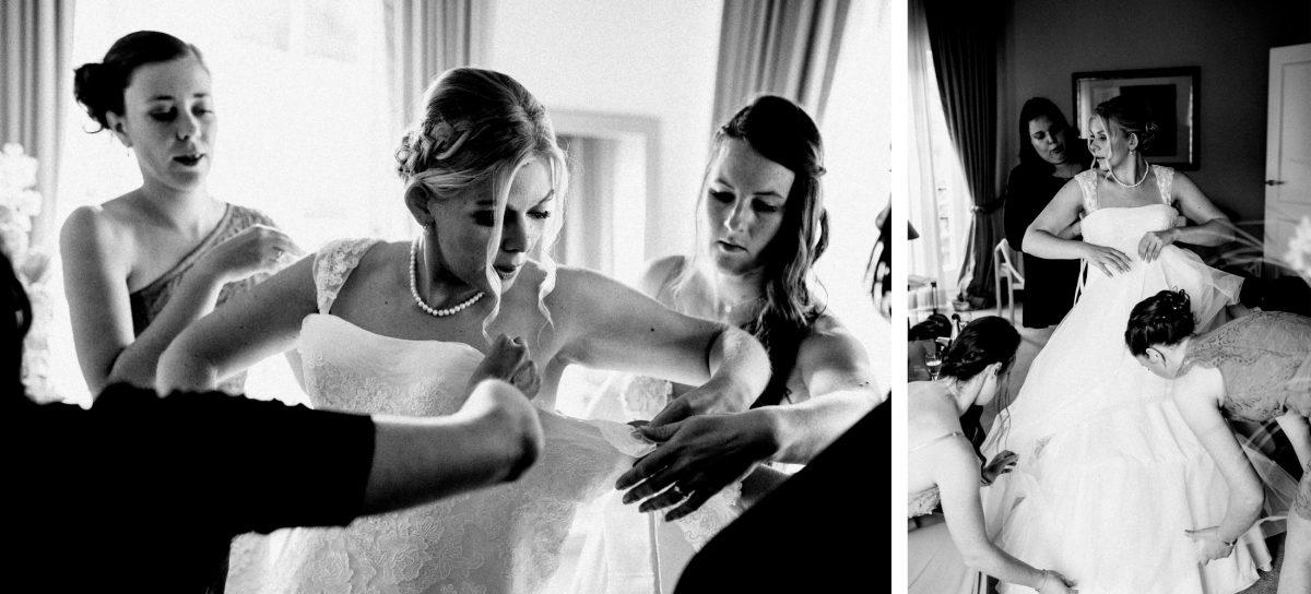 Braut Ankleidung fertig machen Trauzeugen Frisur vorbereitung Brautkleid