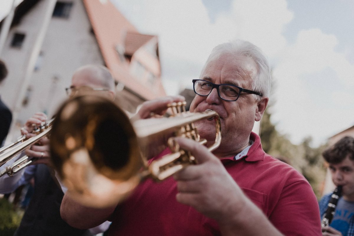 Trompeten Mann Musik Flöte