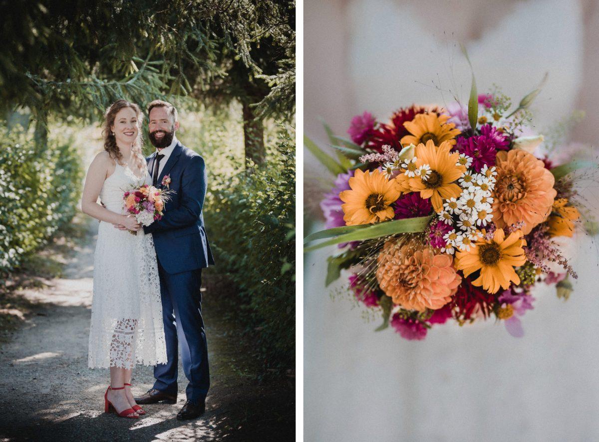 Hochzeitsshooting Park bunter Blumenstrauß Gänseblümchen