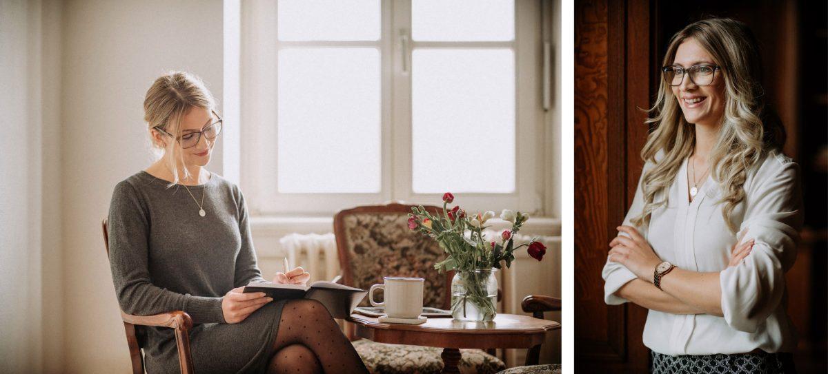 Michelle Frau Brille schreiben lächeln Text