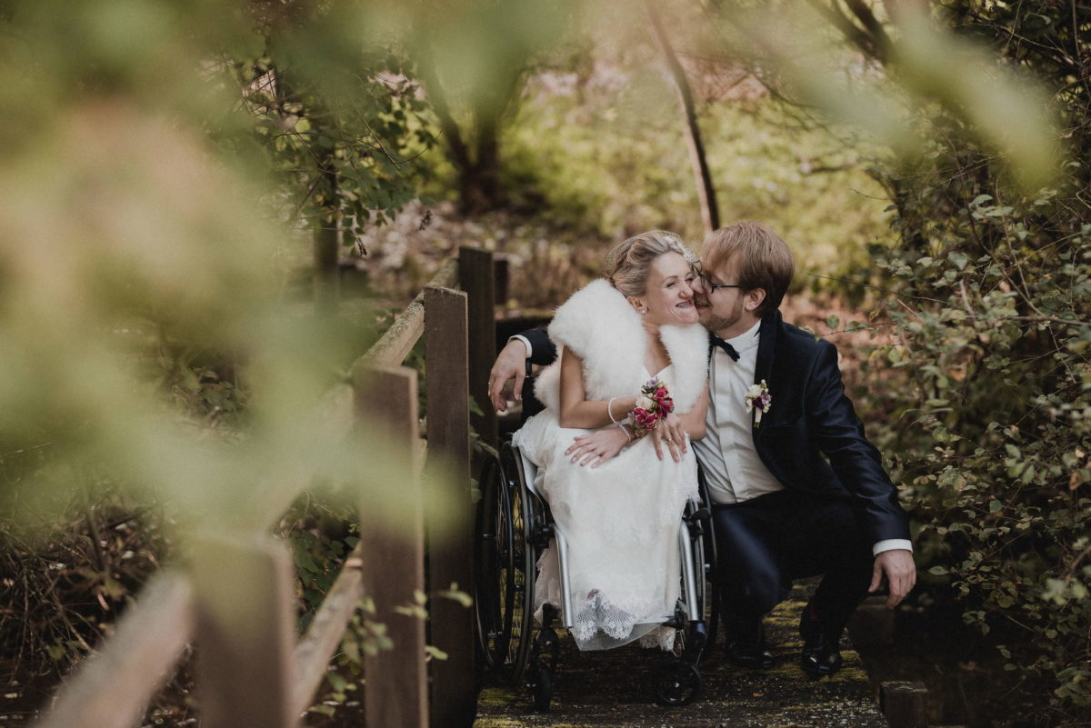 Wald,Gebüsch,Holzbrücke,Fotoshooting,Hochzeit
