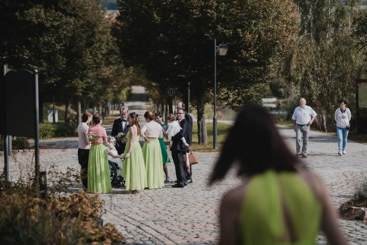Brautjungfern,Brautpaar,Pflastersteine,Bäume,Sonne