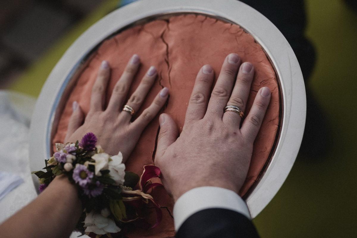 verewigung,Handabdruck,Brautpaar,Eheringe,