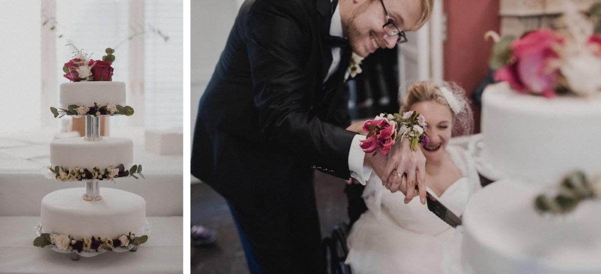 Hochzeitstorte,Brautpaar,Torte anschneiden, gemeinsam