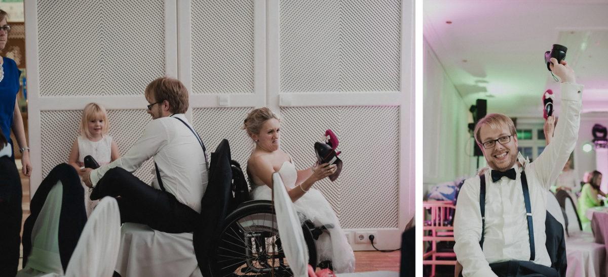 Hochzeitsspiel,Schuhe heben,Fragen beantworten,lachen