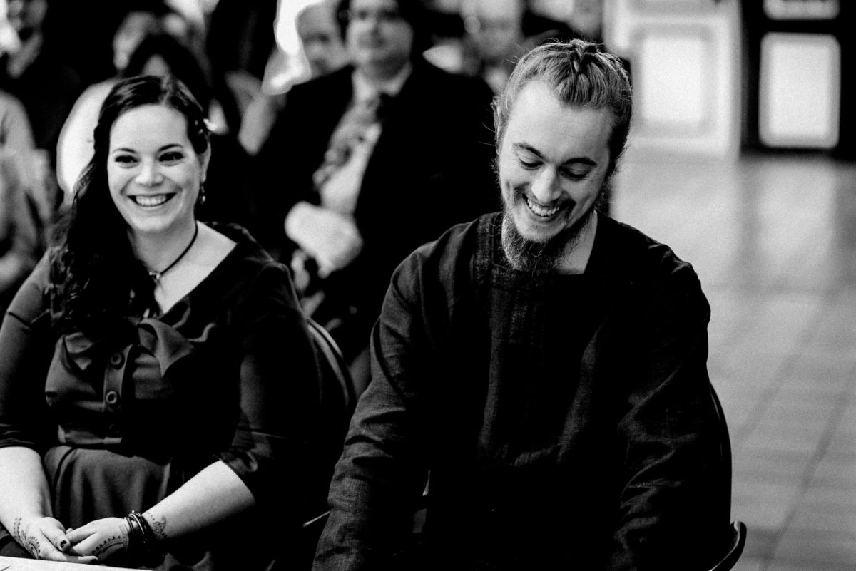 Lachen,Freude,Brautpaar,Trauung