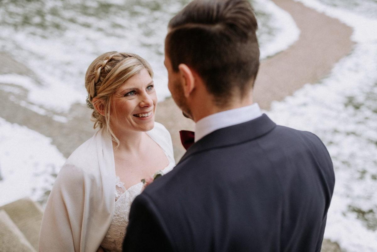 Braut,Brautkleid,Bräutigam,Schnee,Märzhochzeit,