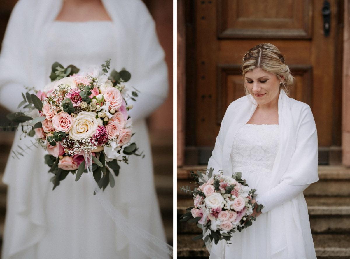 Brautstrauß,Rosenstrauß,Brautkleid,Braut,Stola