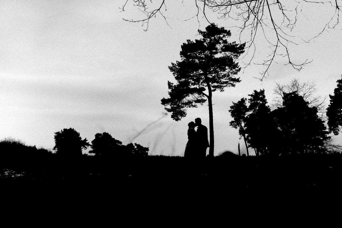 Silhouetten,Baum,schwarz weiß,Brautpaar,