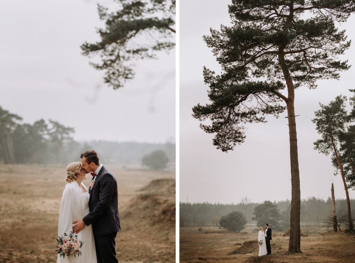 Hochzeitspaar,Shooting,Baum,Nebel,Kuss