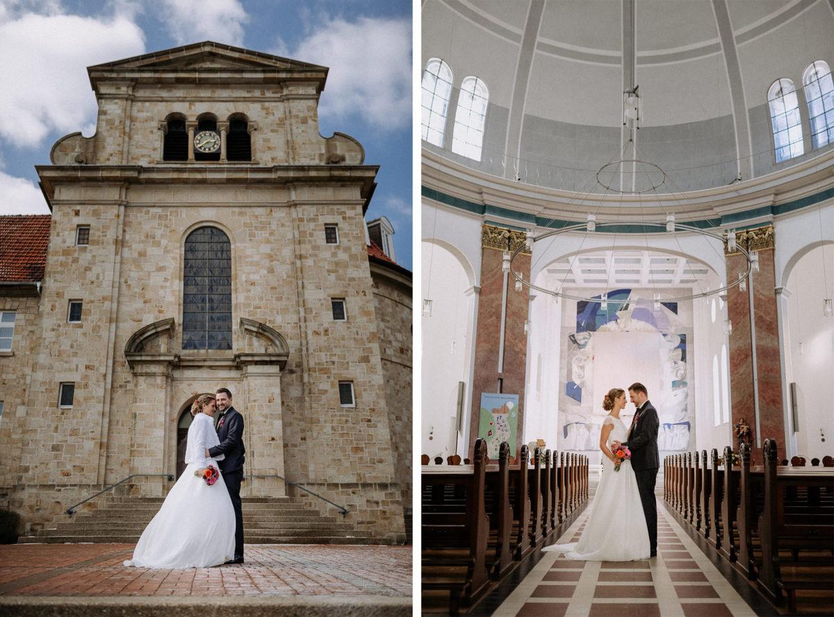 Kirche Bad Iburg,Kirchplatz,Shooting,Brautpaar,antike Fenster