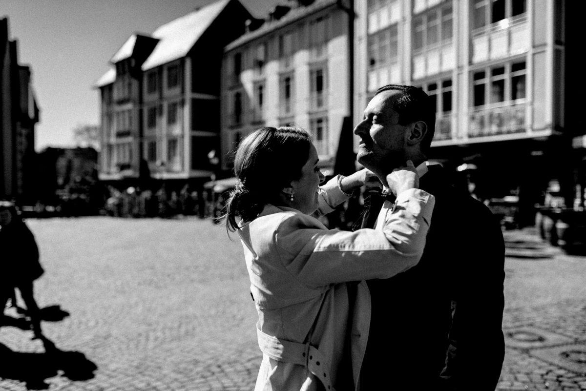 Frau,Mann,zu Recht machen,Rathausplatz