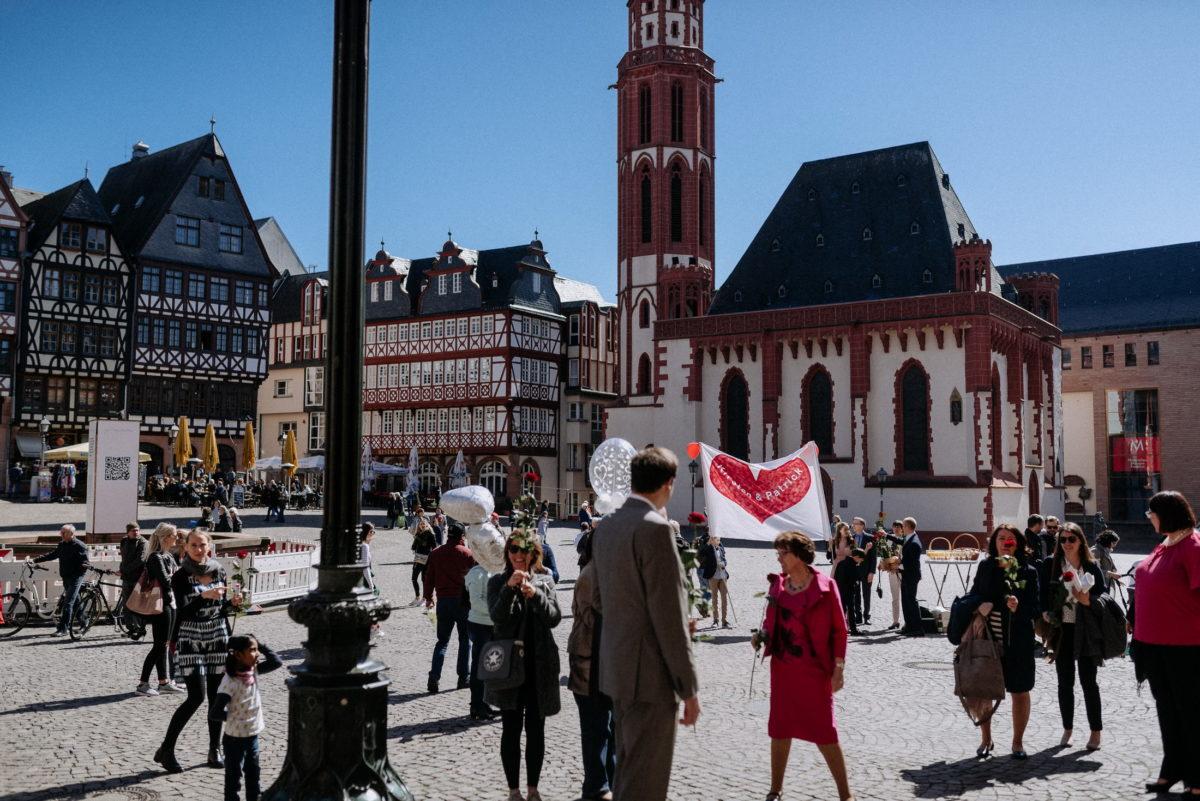 Brautpaar Empfang,Hochzeit am Römer Frankfurt