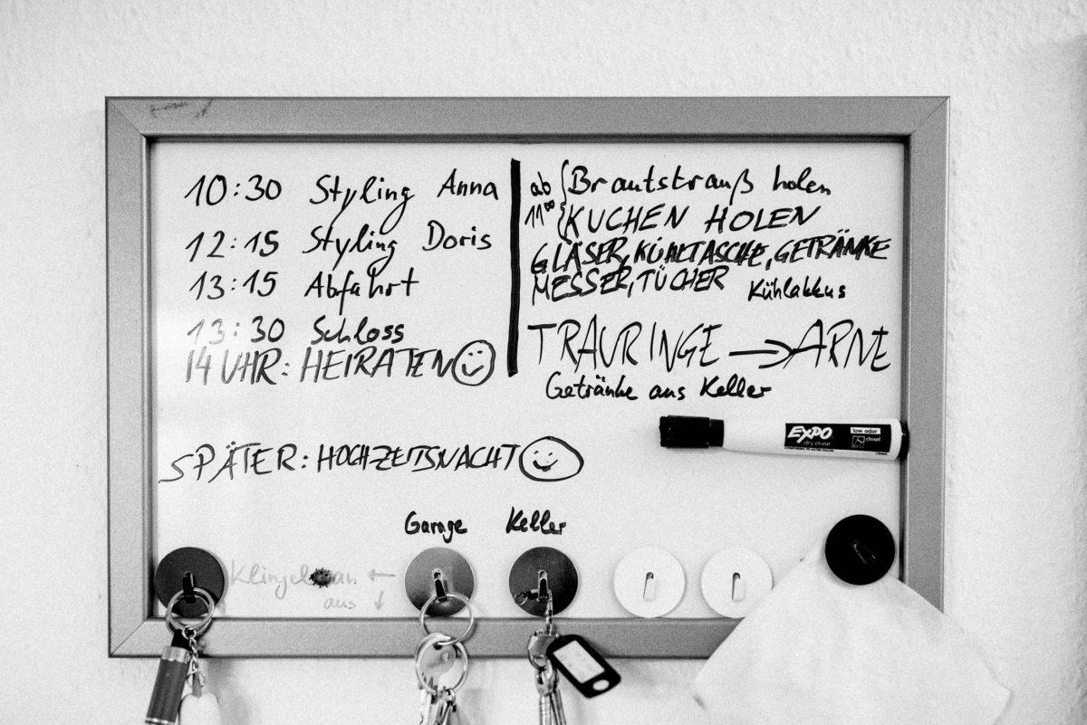 Ablaufplan,Timetable,Stifte,Schlüssel,Styling,Hochzeitsnacht