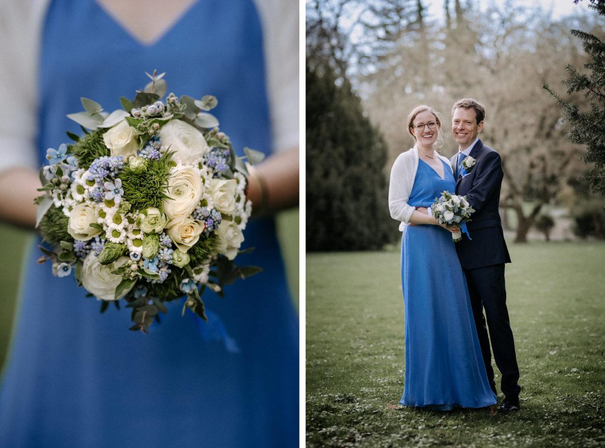 weiß blauer Brautstrauss,Paarshooting,Hochzeit,Bäume,Wiese