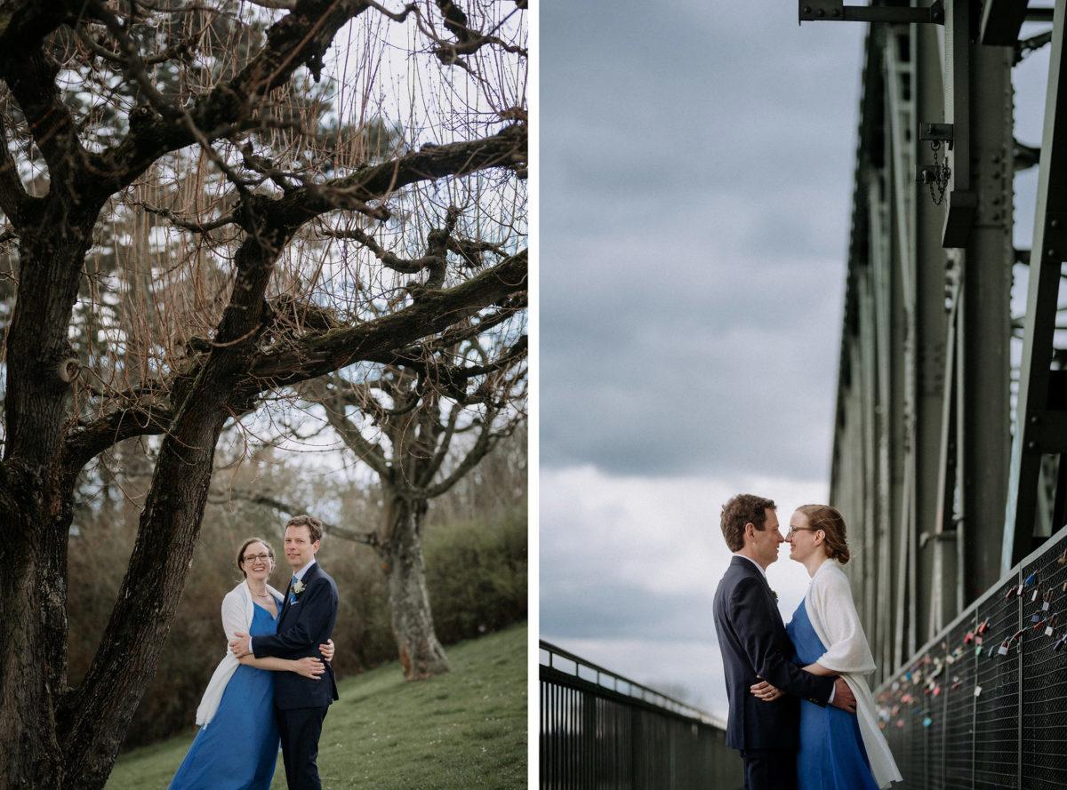 Brücke,Schlösser,Kuss,kahle Bäume,früne Wiese