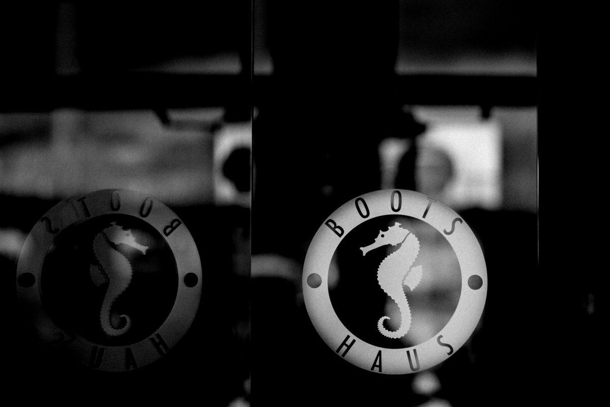 Boots Haus,Seepferdchen,Logo,Scheibe