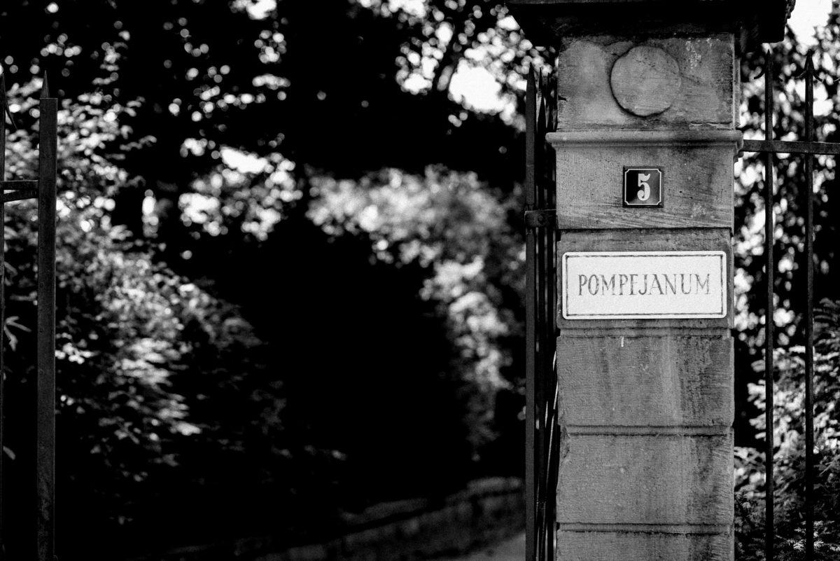 Pompejanum Aschaffenburg,Tor,Metallzaun,Bäume