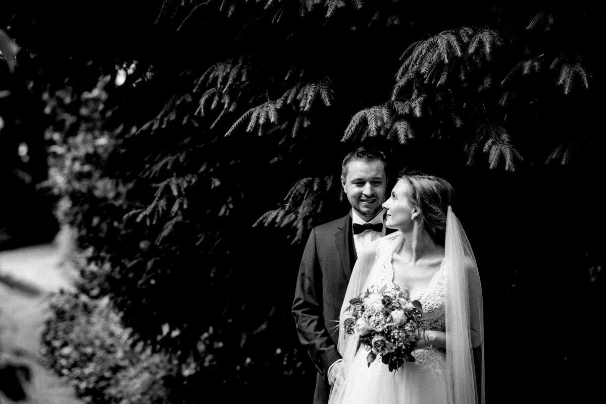 Baum,schwarz weiß,Couple,Brautstrauß,Fliege,Hochzeitskleid