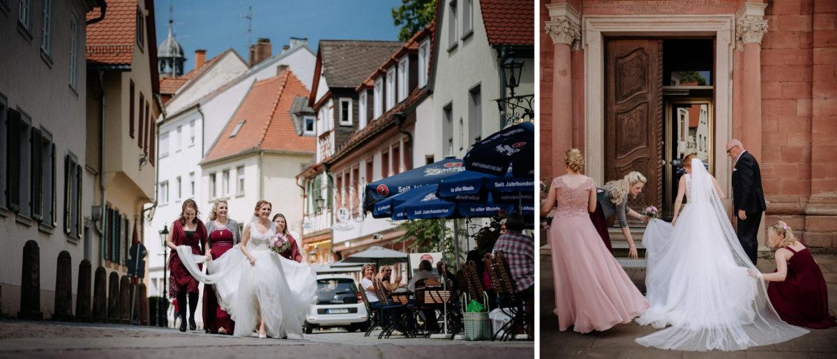Braut,Brautjungfern,Kirche,Schleier,Schleppe,Sonnenschirme