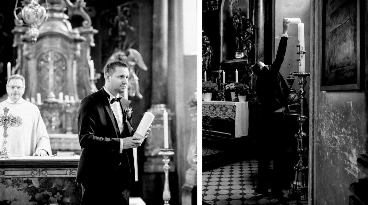 Hochzeitskerze,Osterkerze,anzünden,Kirche,Mann