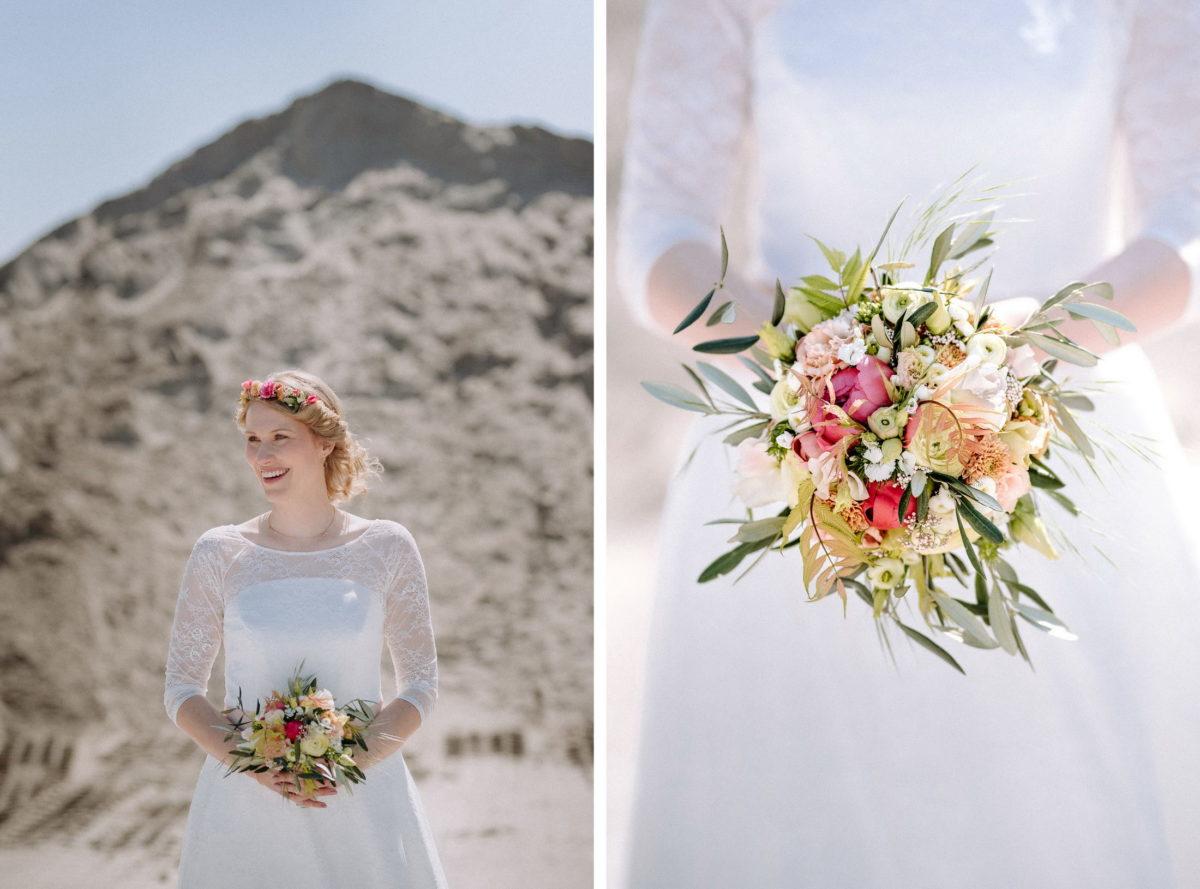 Braut,Brautkleid,Sand,sonne,Brautstrauß