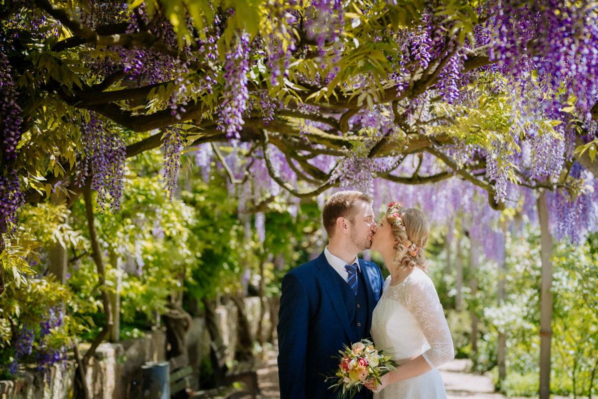 Bäume,Kuss,Hochzeitsshooting,Parkbank,